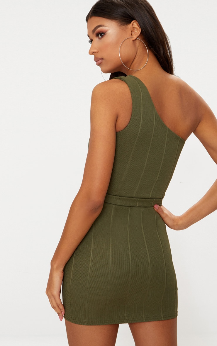 Khaki Bandage One Shoulder Belt Detail Bodycon Dress 2