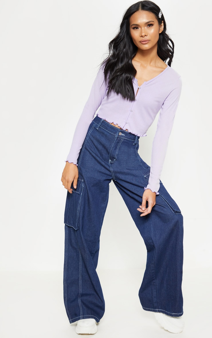 Lilac Rib Button Front Long Sleeve Crop Top 4