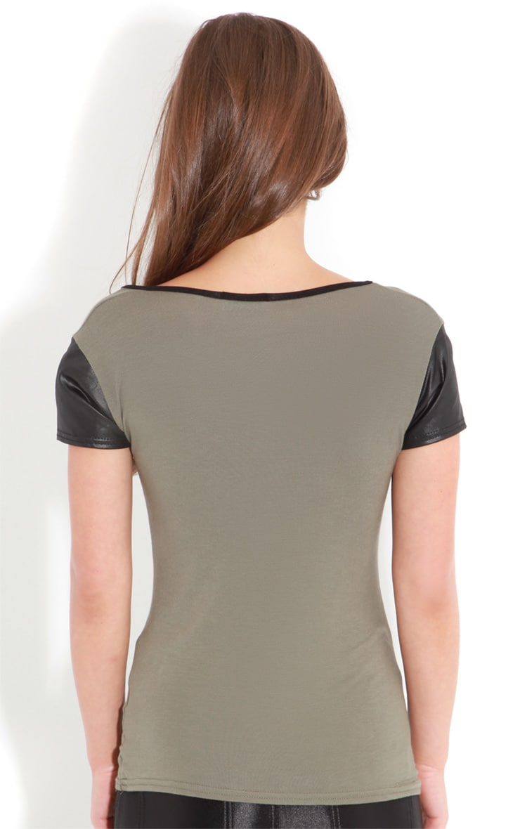 Cleo Khaki Tee With Leather Sleeves 2