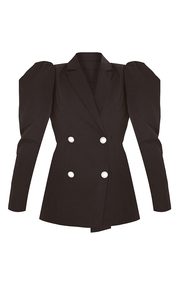 Black Puff Sleeve Pearl Button Fitted Blazer 5