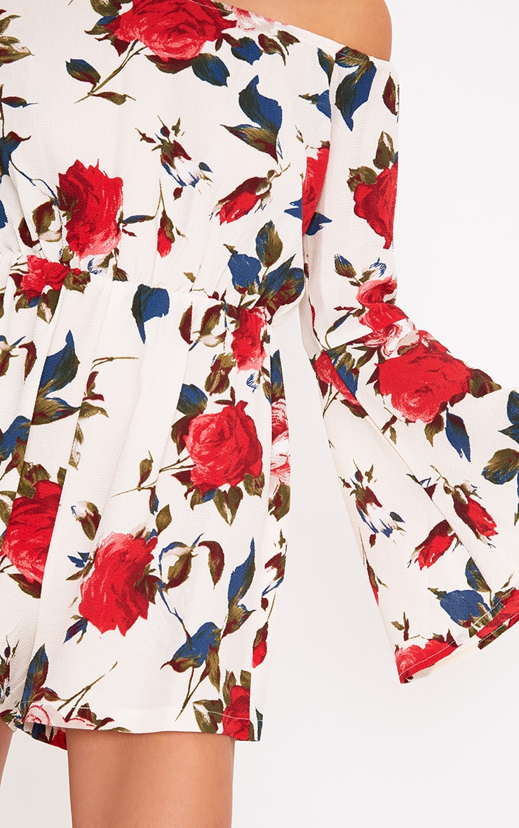 Cream Flower Print Bardot Playsuit 5
