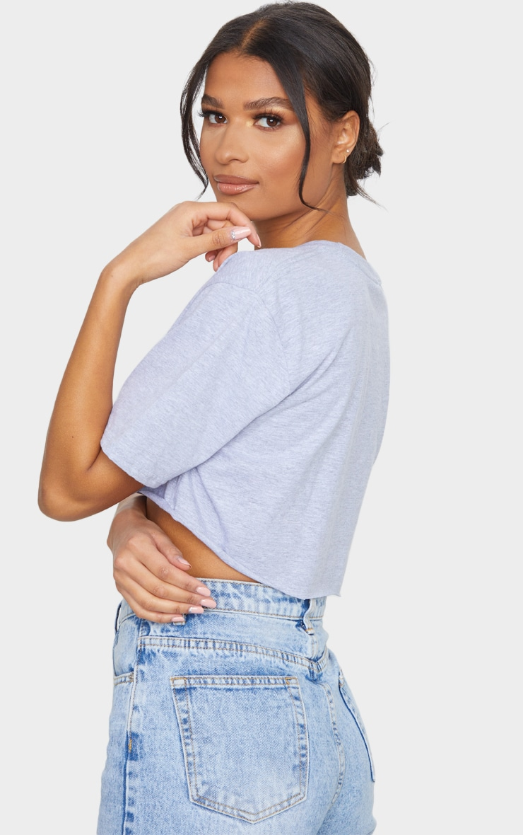 Grey Kindness Is Everything Printed Crop T Shirt 2