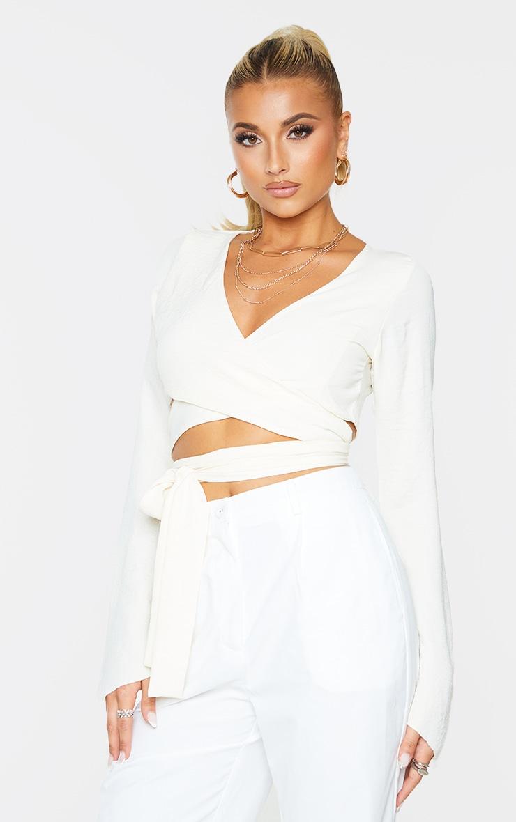 Cream Woven Wrap Over Long Sleeve Top 1