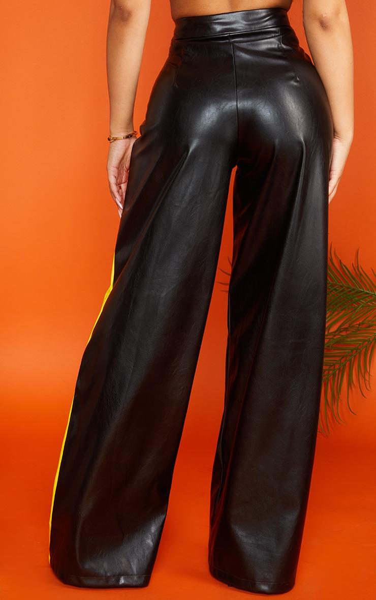 Petite Black PU Stripe Wide Leg Pants 2