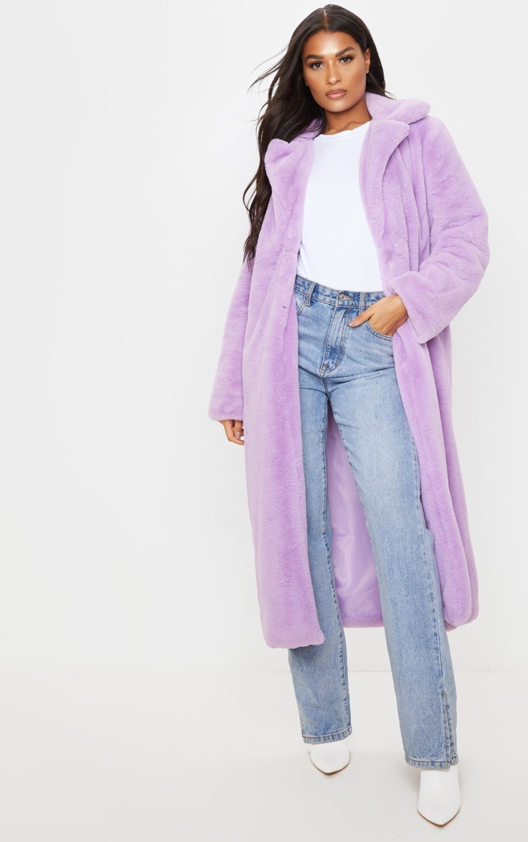 Lilac Maxi Faux Fur Coat 1