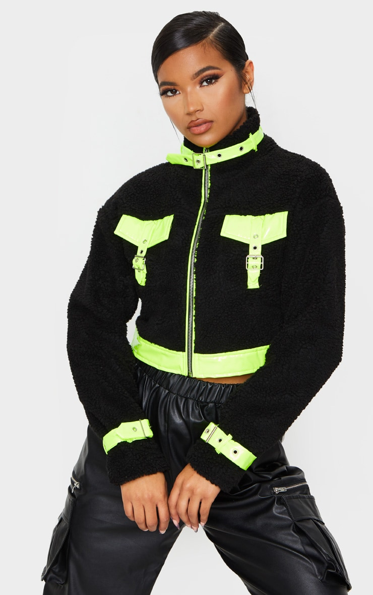 Black Borg Contrast Trim Zip Through Jacket 3