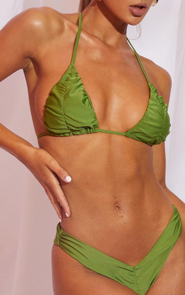 Olive Ruched Front & Back Bikini Bottom 4