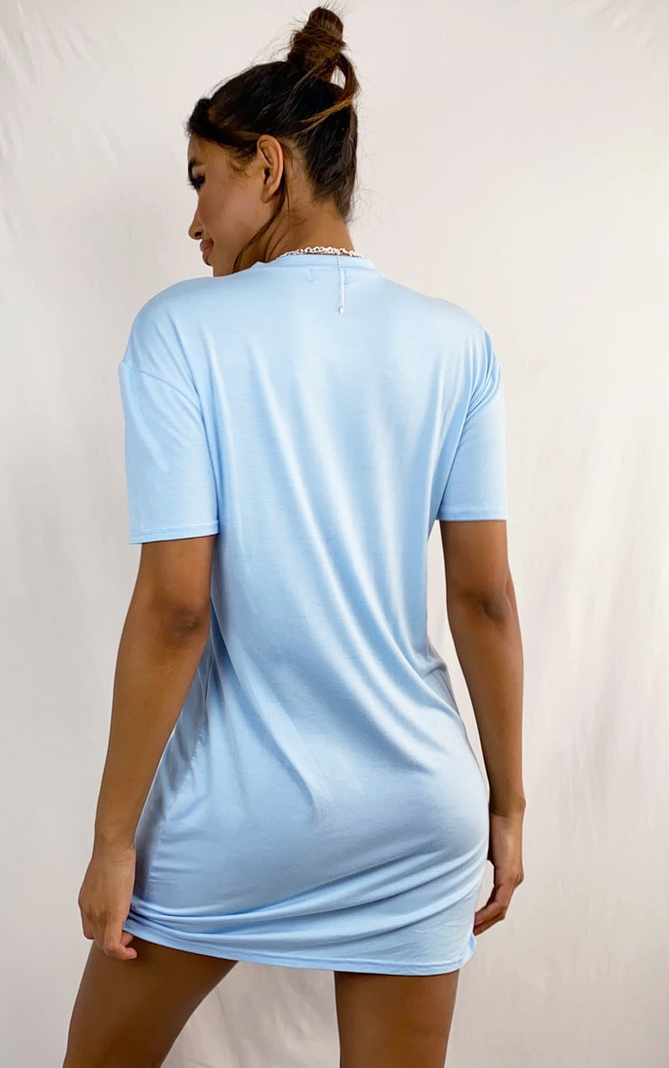 Blue Marl Basic Fitted T Shirt Dress 2