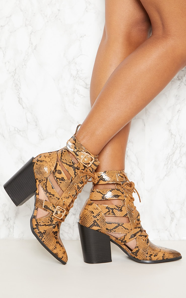 Tan Snake Print Cut Out Heeled Boots