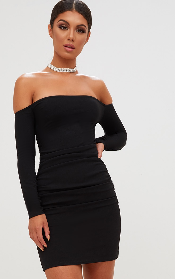 Black Bardot Ribbed Long Sleeve Midi Dress Pretty Little Thing 6PfUdE