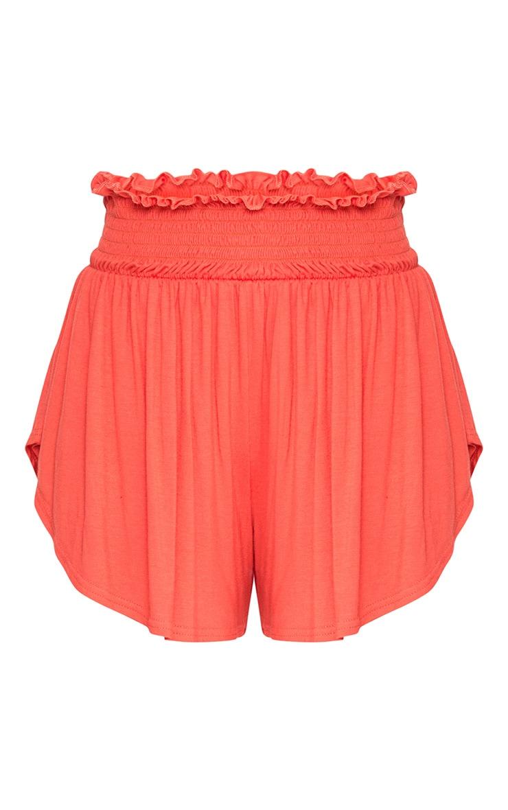 Orange Ruched Waist Floaty Shorts 3