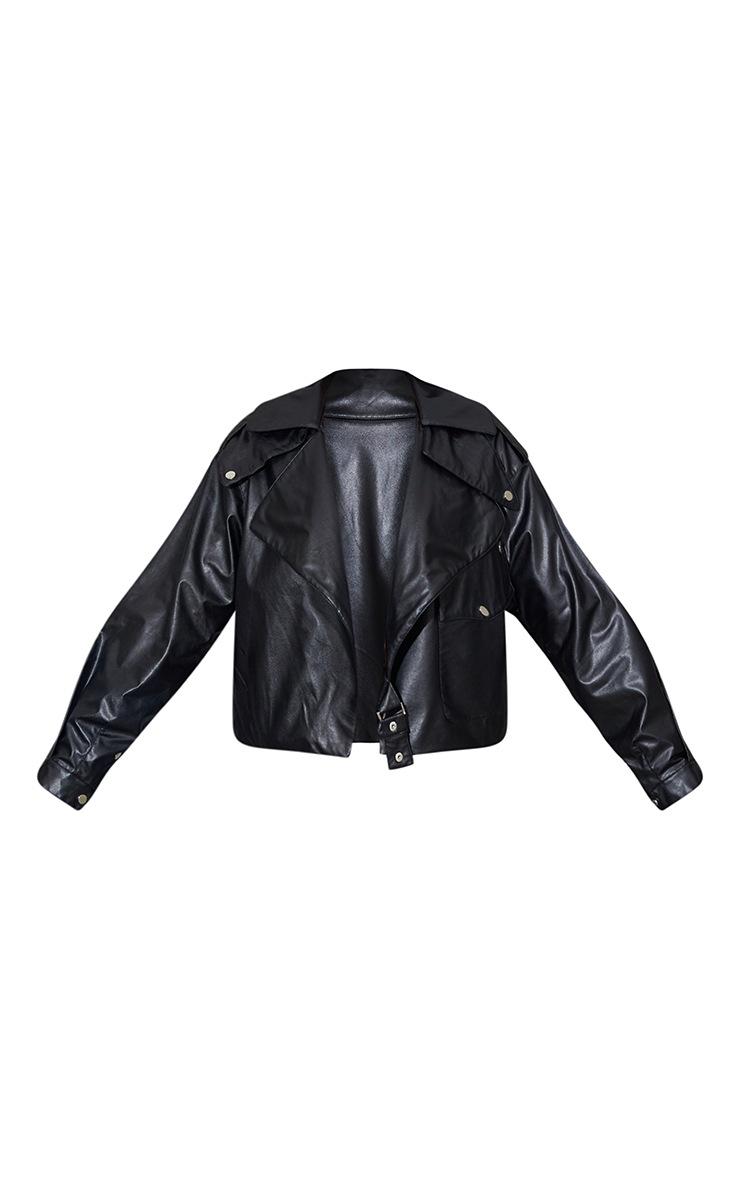 Black Faux Leather Pocket Front Jacket 5