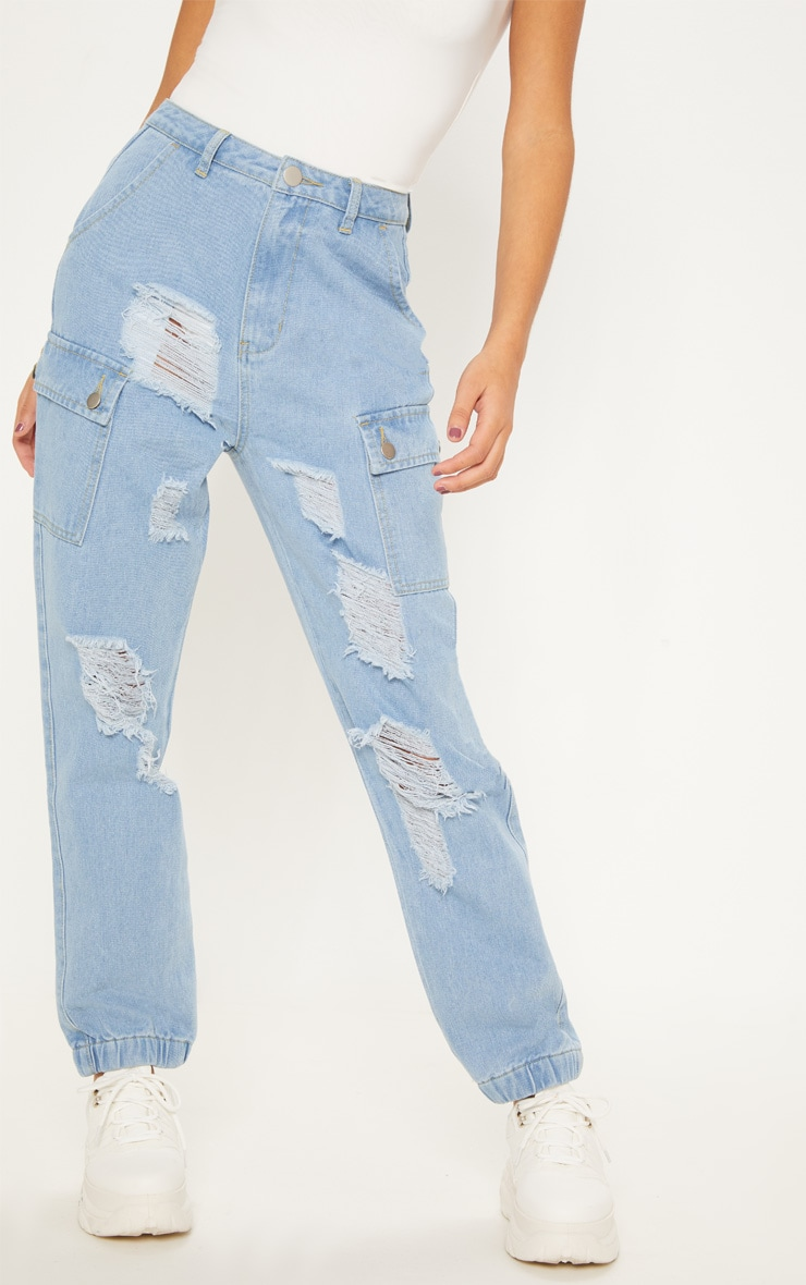 Light Wash Distressed Cargo Pocket Jeans 2