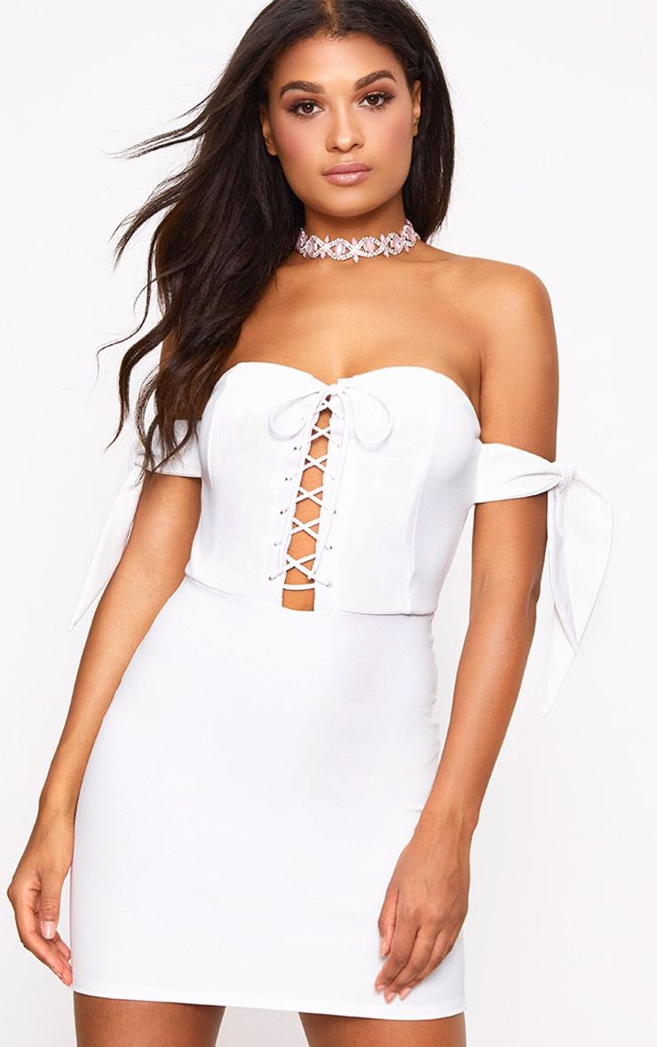 White Tie Sleeve Corset Bodycon Dress 1