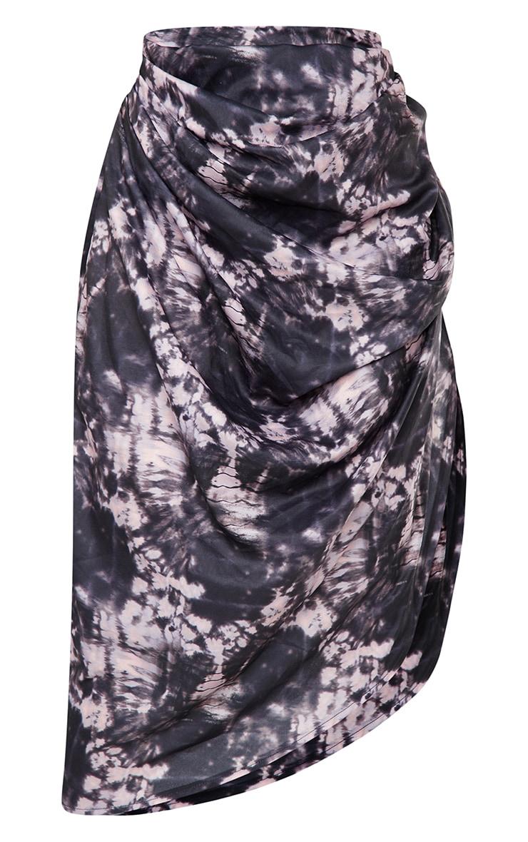 Petite Black Spliced Tie Dye Ruched Side Midi Skirt 5