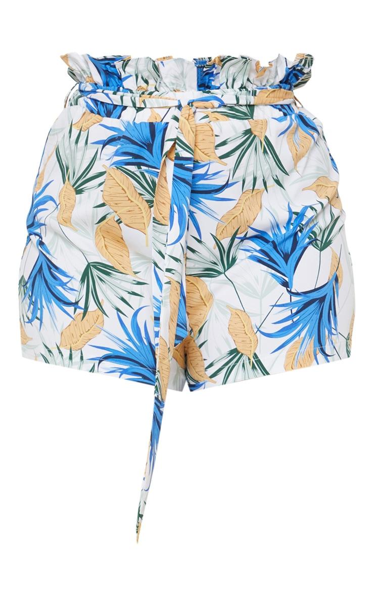 Plus White Leaf Print Paperbag Belted Shorts  3