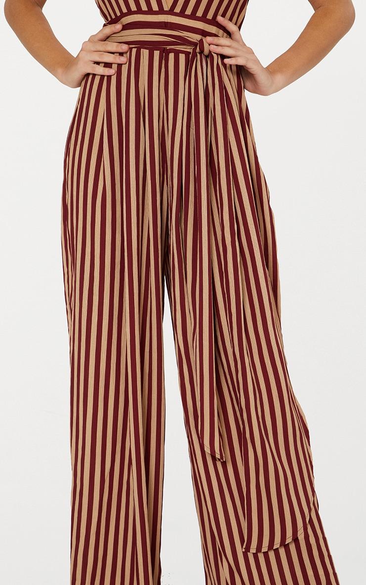 Camel Stripe Tie Waist Jumpsuit  6