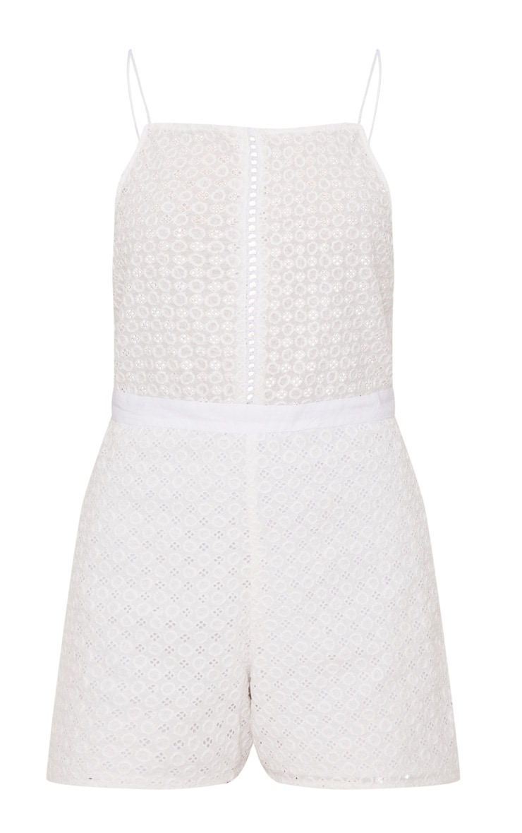White Broderie anglaise Straight Neck Playsuit 3