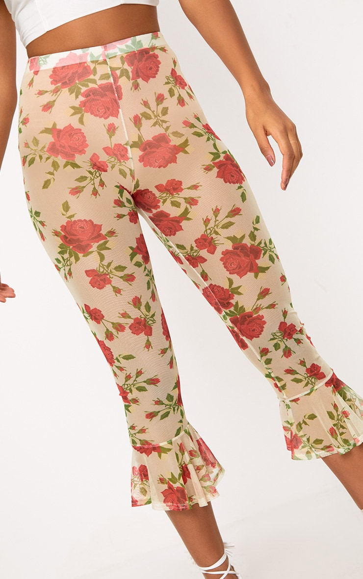 Cream Embroidered Printed Mesh Frill Hem Crop Trousers 5