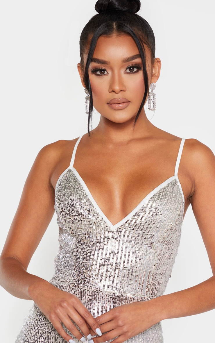 Silver Sequin Split Midi Dress 6