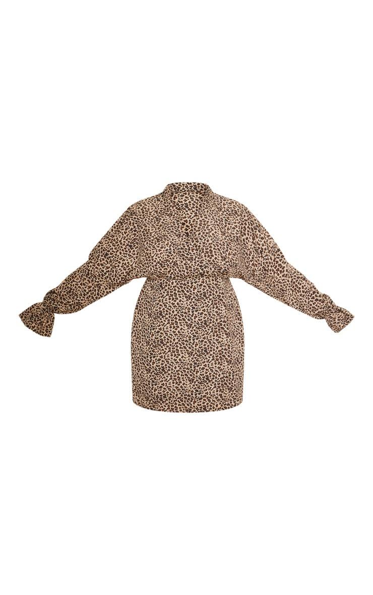 Plus Brown Leopard Print Collar Detail Shirt Dress 3