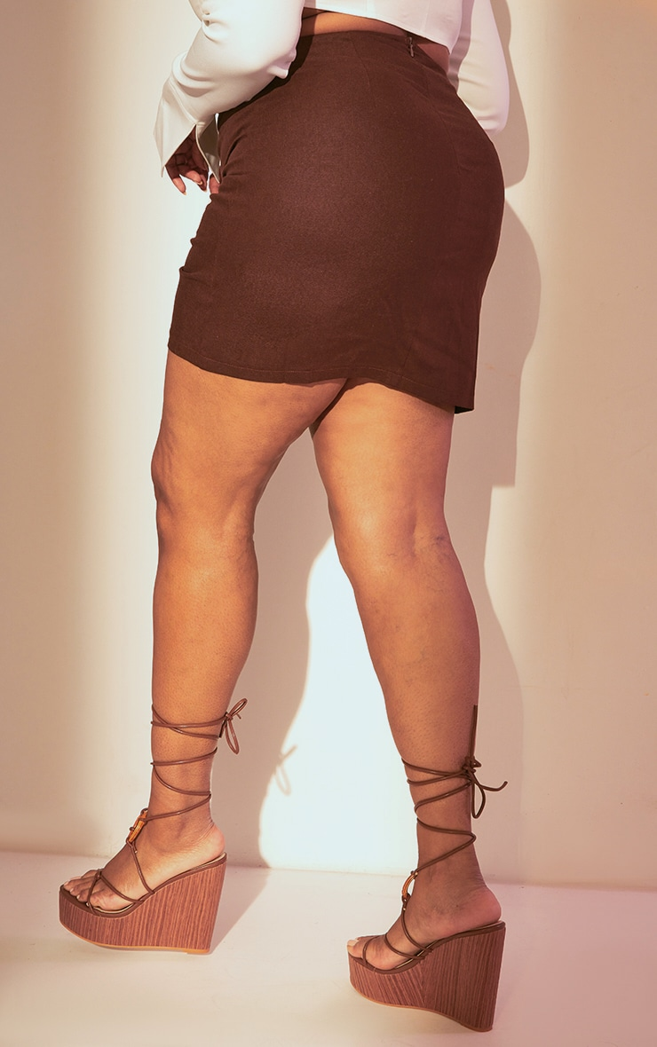 Plus Chocolate Brown Ruched Mini Skirt 3