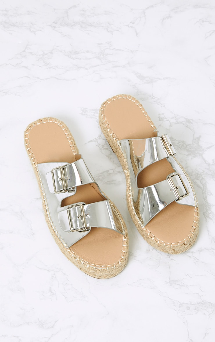 Madge Silver Metallic Espadrille Sandals  1
