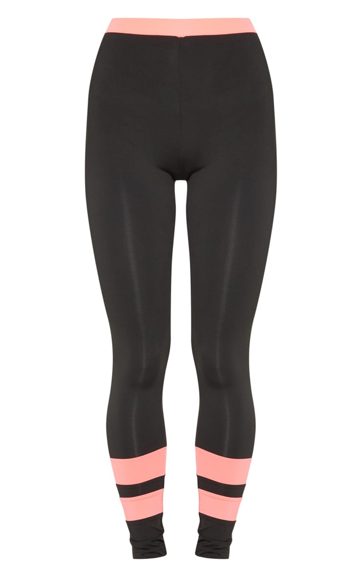 Black And Pink Contrast Legging  3