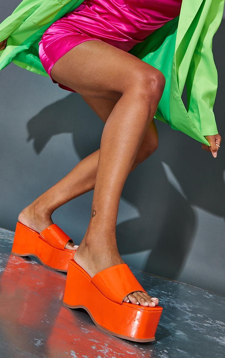Orange Square Toe Patent Flatform Mules 1