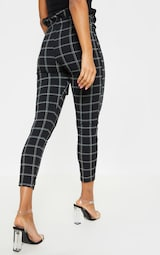 33a5ed7d269 Black Tweed Check Paperbag Skinny Trousers image 4
