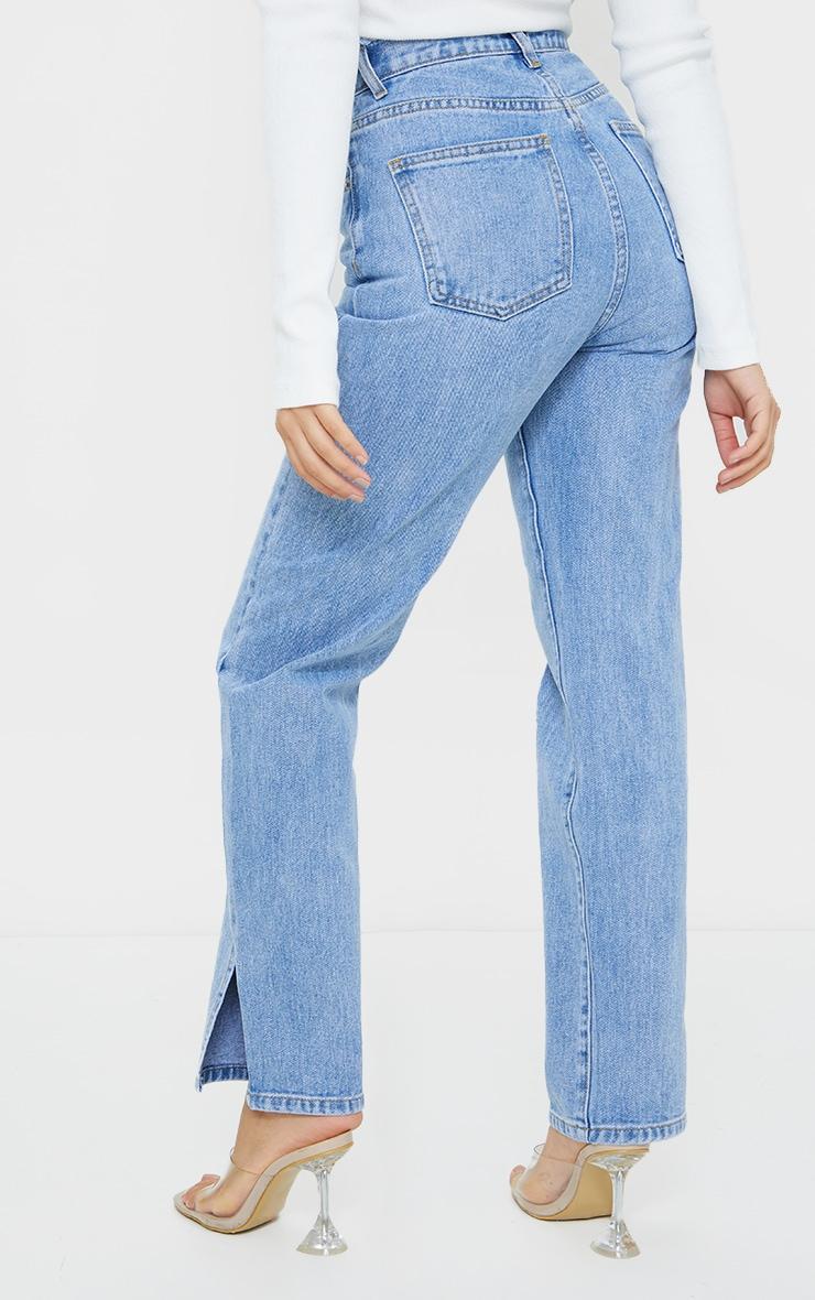 Petite Light Blue Distressed Waistband Split Hem Jeans 3