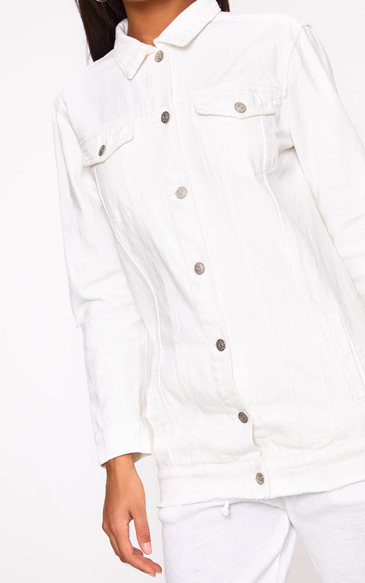 White Elbow Rip Denim Jacket 5