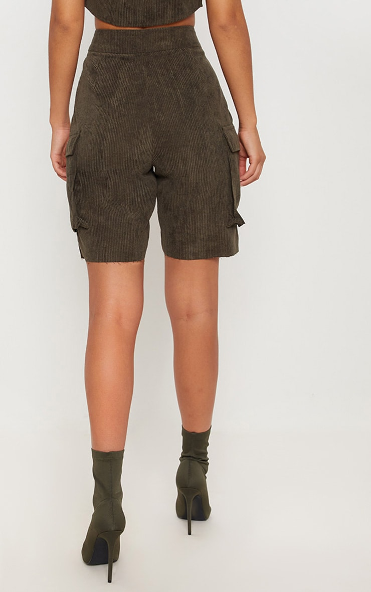 Khaki Cord Boyfriend Fit Shorts 4