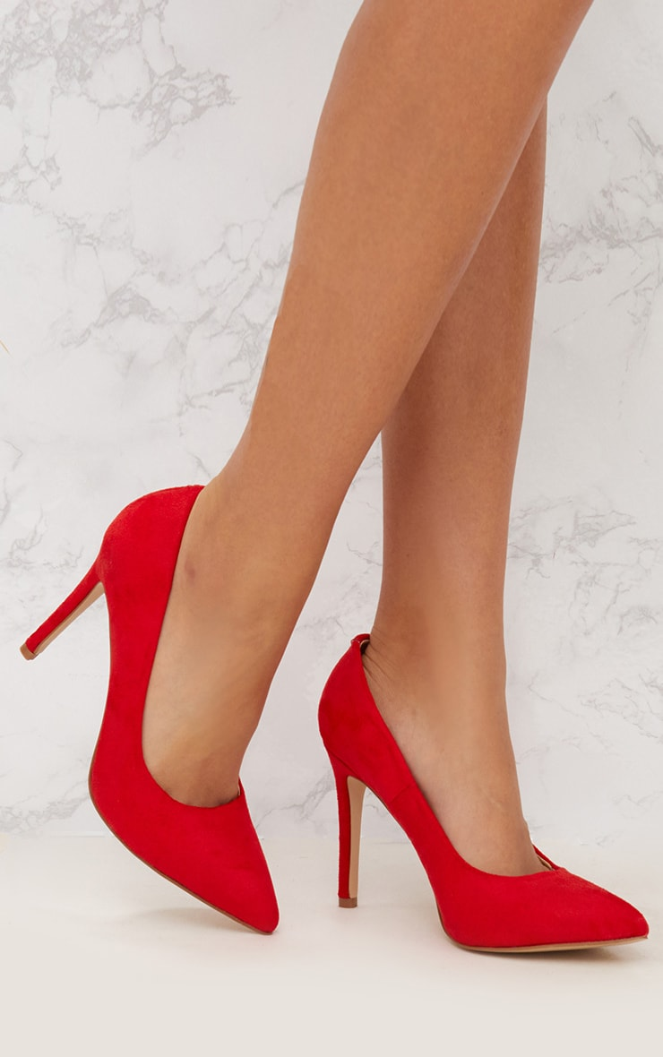 Red Faux Suede Pointed Heeled Court Shoe 1