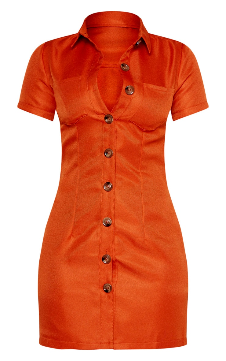 Petite Rust Button Utility Shirt Dress  3