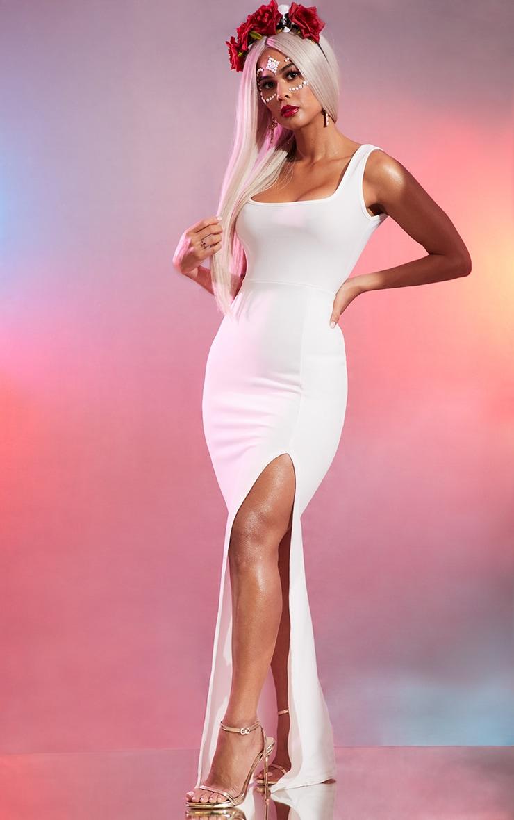 White Square Neck Maxi Dress