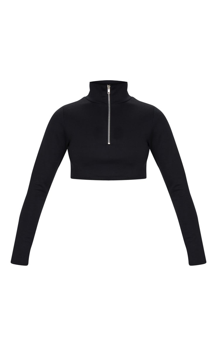 Black Zip Front Cropped Sweater 5