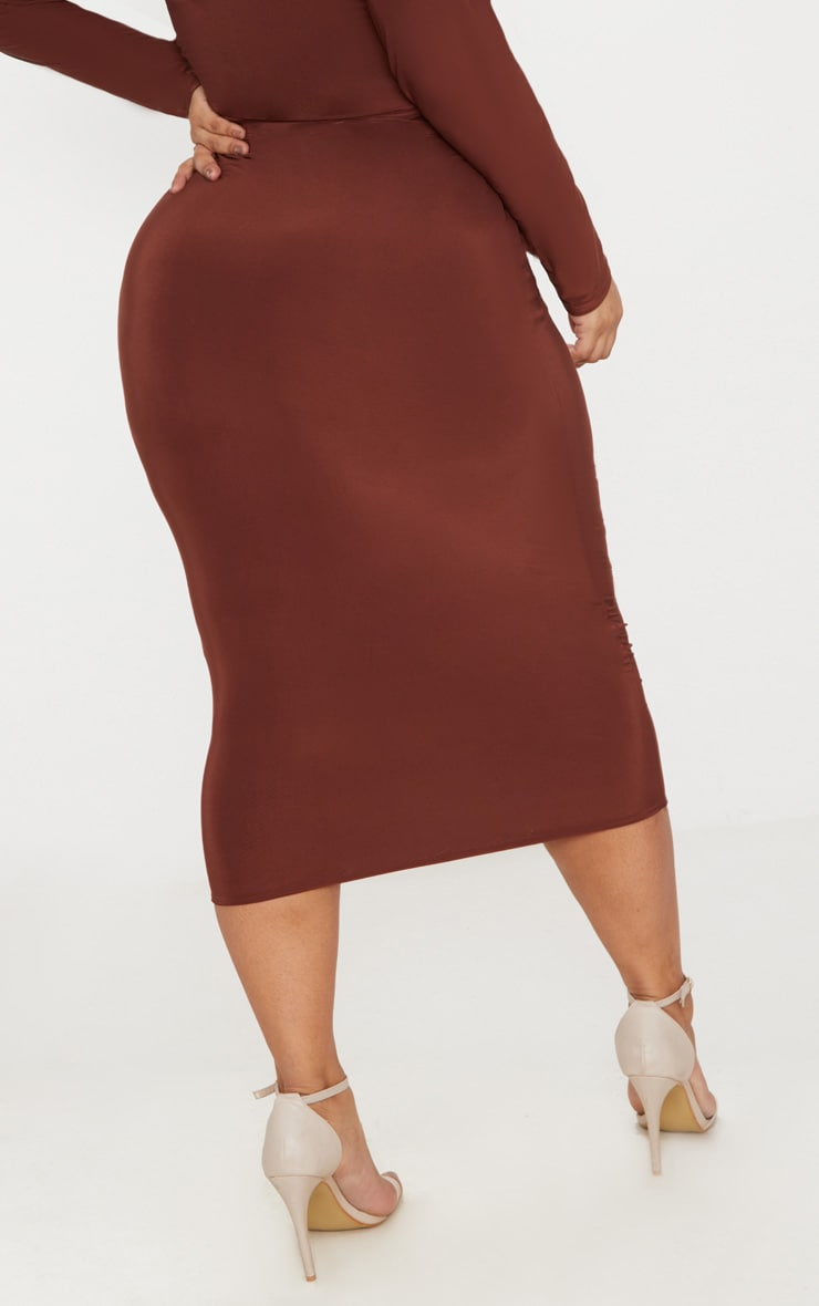 Plus Chocolate Slinky Midi Skirt 4