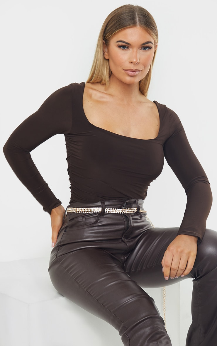 Chocolate Slinky Ruched Long Sleeve Square Neck Bodysuit 1