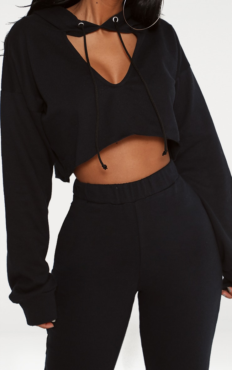 Shape Black Crop Open Neck Hoodie 5