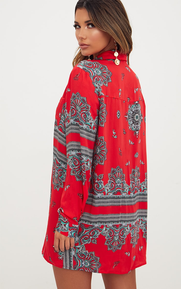 Red Scarf Print Shirt Dress 2