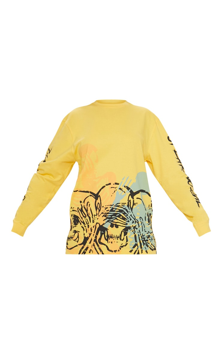 Yellow Skull Print Oversized Long Sleeve T Shirt 3