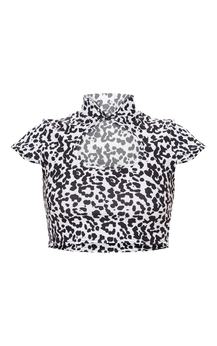 White High Neck Leopard Print Stretch Crop Top 5