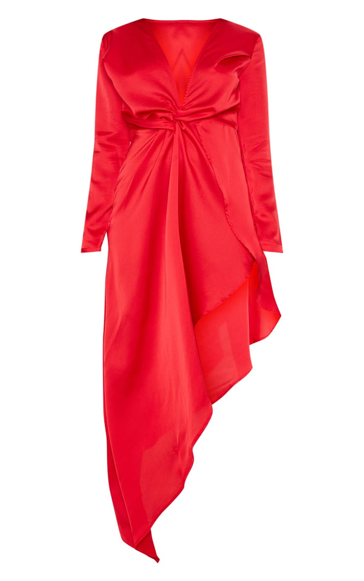 Red Asymmetric Hem Long Sleeve Plunge Satin Maxi Dress 3