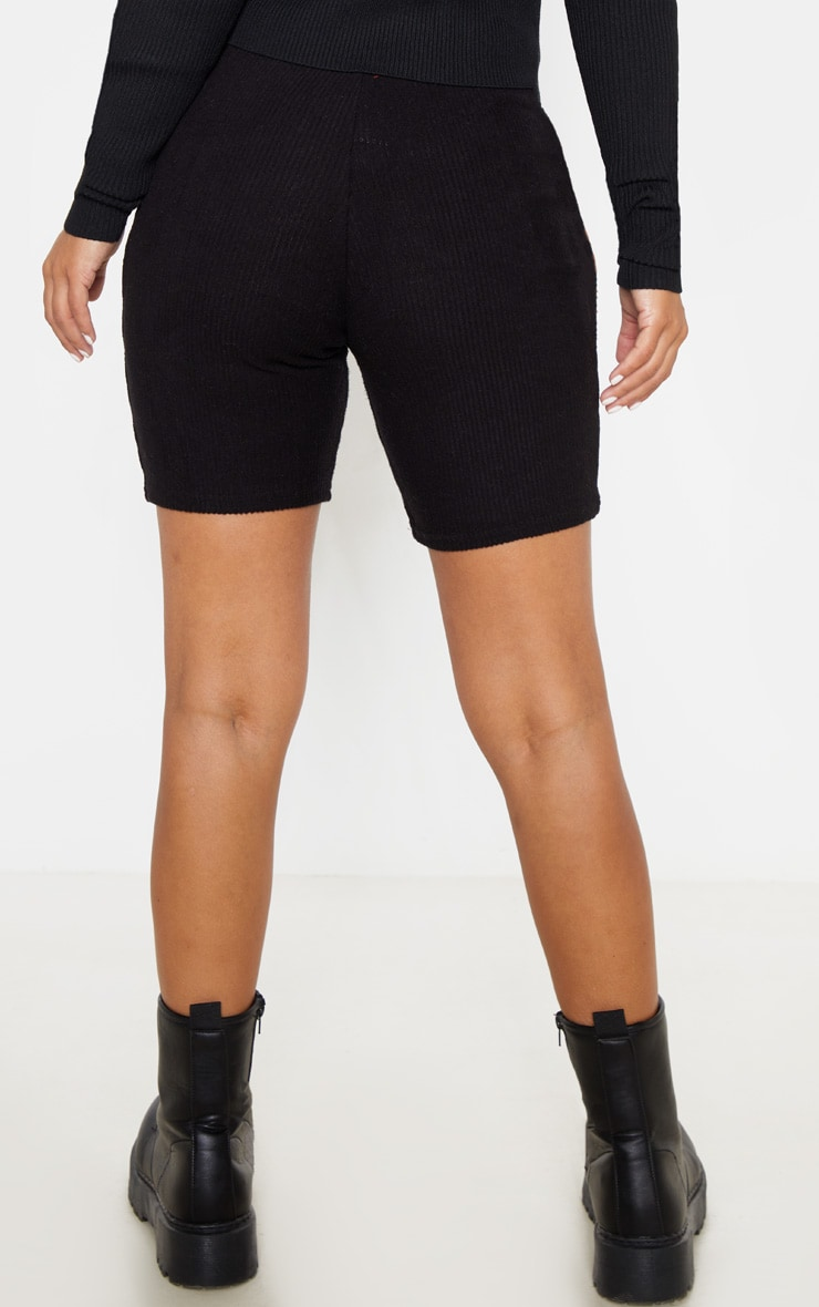 Petite Black Brushed Rib Cycle Short  4