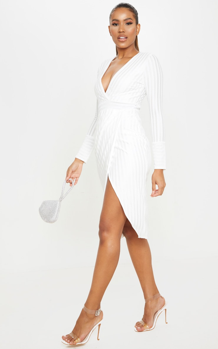 White Satin Stripe Wrap Midi Dress 3
