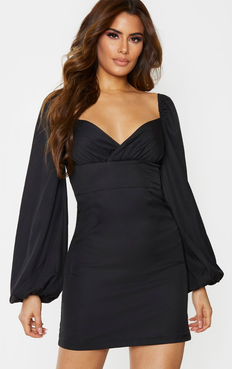 Tall Black Balloon Sleeve Cross Over Swing Dress 1