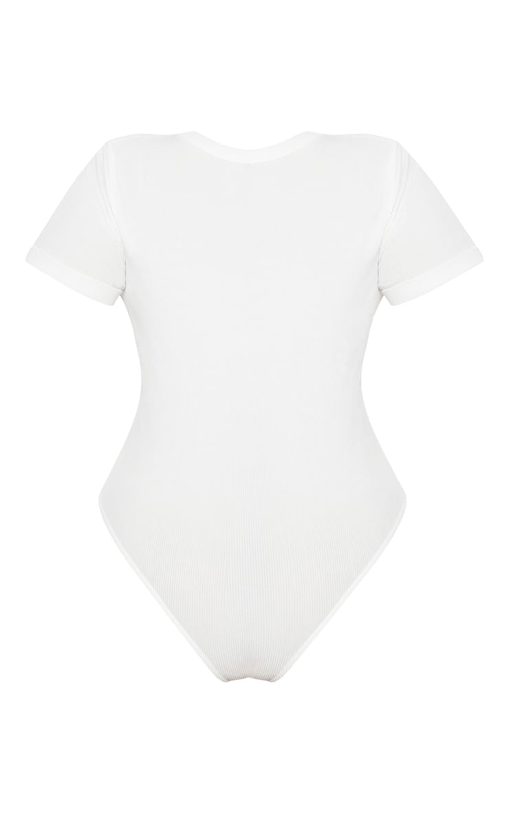 Plus White Ribbed Plunge Short Sleeve Bodysuit 4