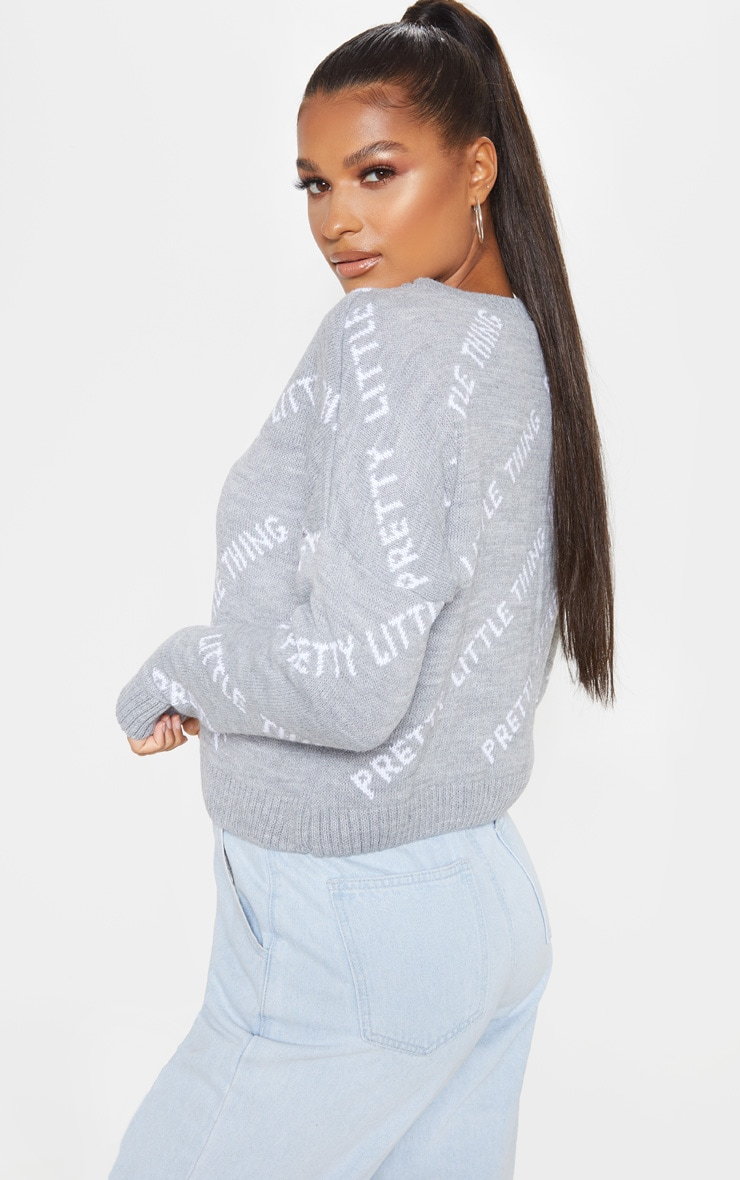 PRETTYLITTLETHING Grey Knitted Sweater 2