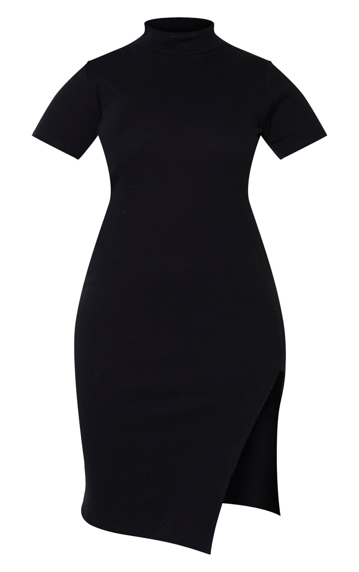 Plus Black Rib High Neck Short Sleeve Midi Dress  3